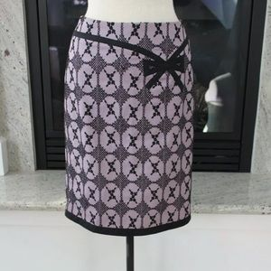 Nanette Lepore purple black bow pencil skirt 0
